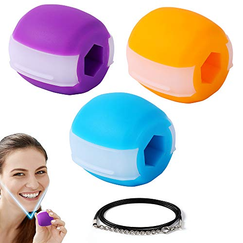 Jaw Exerciser Jawline Exerciser, 3 Pack Jaw, Face, and Neck Exerciser - Define Your Jawline - Shape, Tone, and Slim Your Face - Reduce Double Chin and Cravings - 3Levels 30lbs, 40lbs, 50lbs Resistance