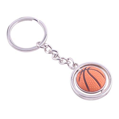 TOYMYTOY Baloncesto Metal Key Ring 3D Deportes Llavero Rotating Ball Key Chain Regalo de cumpleaños