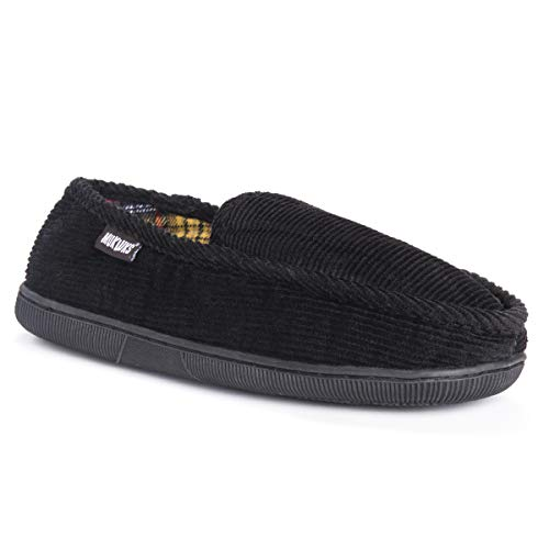 Price comparison product image MUK LUKS Men's Corduroy Moccasin with Flannel Lining Slip-On Loafer,  Black