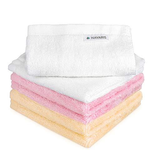 Navaris 6x Toallas de tocador de bambú - Toallitas de muselina para cuidado infantil del bebé o facial - Toalla de tela de 25 x 25 CM - 3 colores