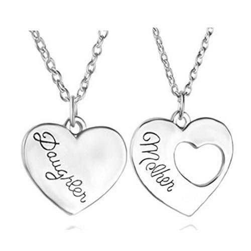Collar con colgante de corazón personalizado con 2 colgantes chapado en plata para el día de la madre.