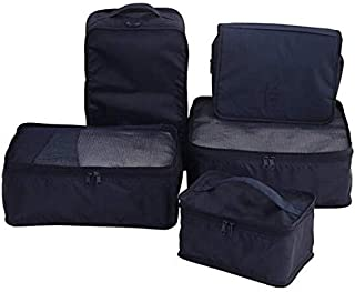 Travel Packing Cubes 7 Set, Luggage Organizers with Toiletry Kit Shoe Bag Travel Mesh Pouch -Laundry Bag-Black-H