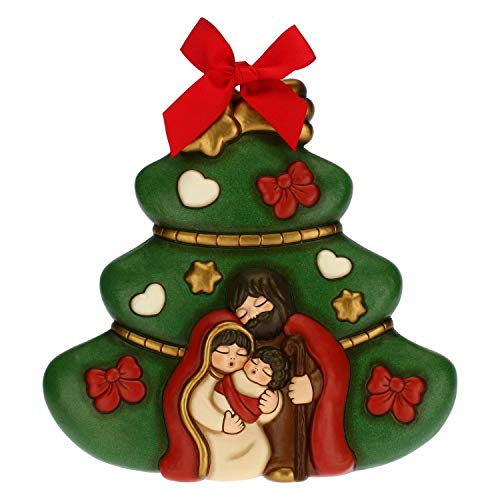 THUN - Formella Albero di Natale con Sacra Famiglia - Decorazioni Natale Casa - Formato Grande - Ceramica - 25,1 x 4,3 x 25,4 h cm