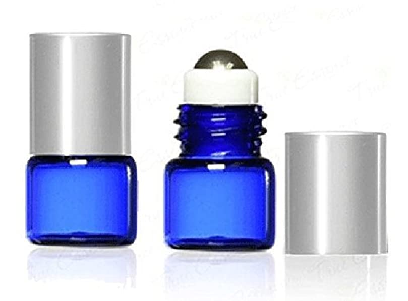 コントロール距離カナダGrand Parfums 1 ml, 1/4 Dram Cobalt Blue Glass Micro Mini 1ml Roll-on Glass Bottles with Metal Roller Balls & Metal Silver Caps. - Refillable Aromatherapy Essential Oil Roll On (12) [並行輸入品]