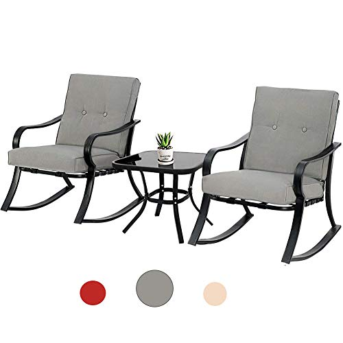 Incbruce 3-Piece Outdoor Patio Furniture Rocking Chairs Bistro Sets, Glass-Top Table and Black Steel Chairs with Thick Cushions (Gray)