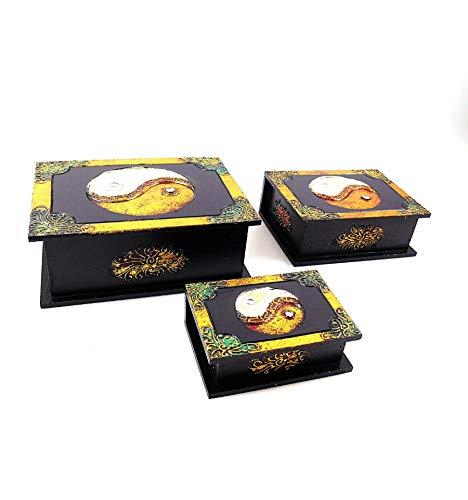 Artisanal Aufbewahrungsboxen, Holz, Buddha-Motiv, 3 Stück Herstellung