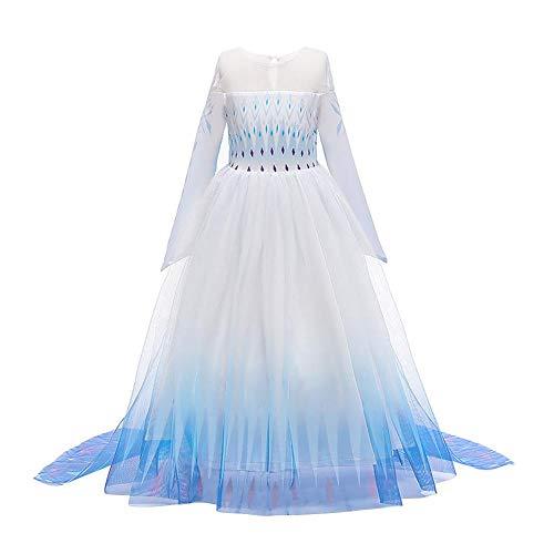 IWEMEK Mädchen Eiskönigin 2 Kostüm ELSA Kleid Schneekönigin Prinzessinkleid Schneeflocke TüllKleid Weihnachten Karneval Fasching Verkleidung Geburtstag Partykleid Kinder B-Blau 02 7-8 Jahre