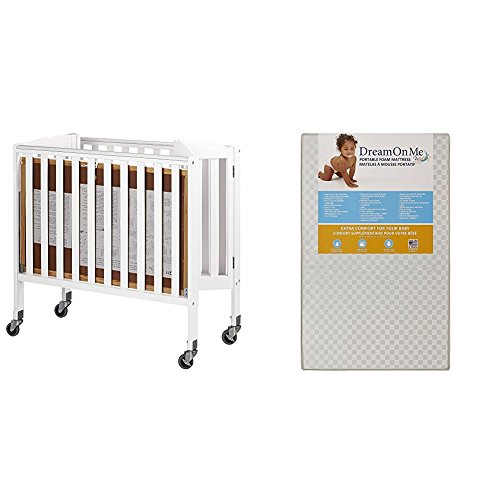 Dream On Me, 3-in-1 Folding Portable Crib with Dream On Me 3 Portable Crib Mattress, White