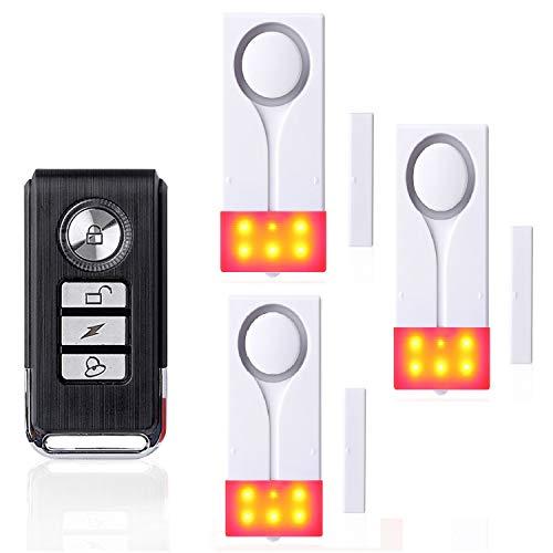 ECTECH Sistema inalámbrico Compuesto por 1Mando a Distancia, 3sensores para Puertas y Ventanas, y una Alarma acústica y Visual con iluminación