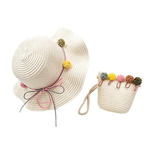 Fugift Baby-Sonnenhut, Sommer-Kind-Baby-Stroh gesponnene Sonnenhut mit beweglicher Handtasche Nette Karikatur-Kaninchen Pompom Sonnenschutz Urlaub im Freien Strand Cap