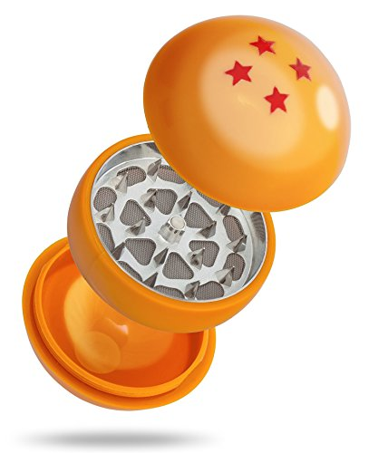 Dragon Ball Z Herb Grinder - 3 Piece Grinder 55MM (2.2 Inches) - Best For Herb & Spices - Gift Box (4 Star)
