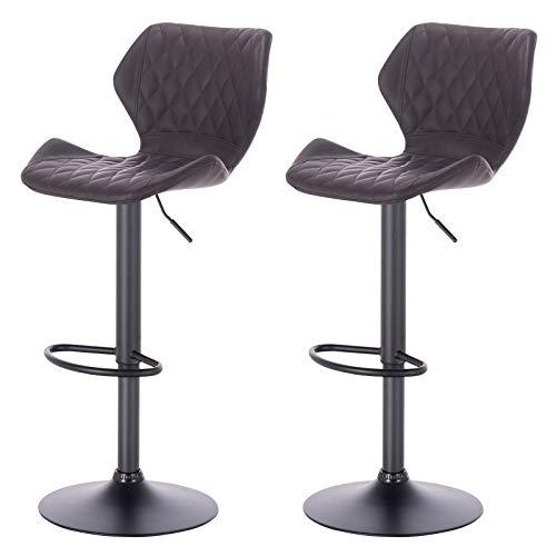 eSituro SBST0368-2 2 x Barhocker Küchenstuhl Barstuhl, höhenverstellbar & 360° drehbar, 2er Set Bar Hocker aus hochwertigem Kunstleder(Antiklederoptik), Anthrazit