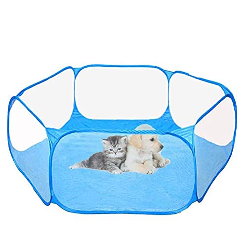 REYOK Kleintier-Laufstall,Pop-Up Faltbares Kleintierkäfig Zelt,Atmungsaktiver Transparenter Heimtier Laufstall,Pop-up Outdoor Übungszaun für Meerschweinchen, Kaninchen,Hamster,Chinchillas und Igel