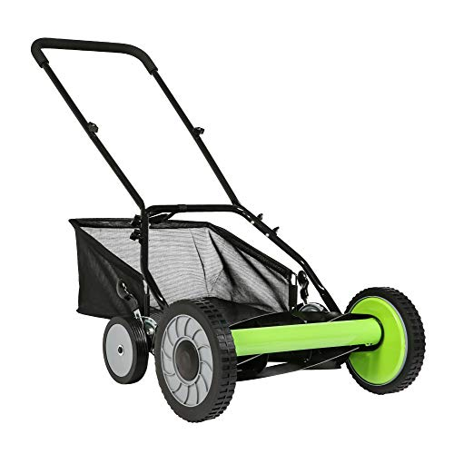 LUCKYERMORE 16-Inch Manual Reel Mower w/Detachable Grass Catcher, Adjustable Cutting Height Push Mower Up to 5/2 Inches, 5-Blade 4 Wheels