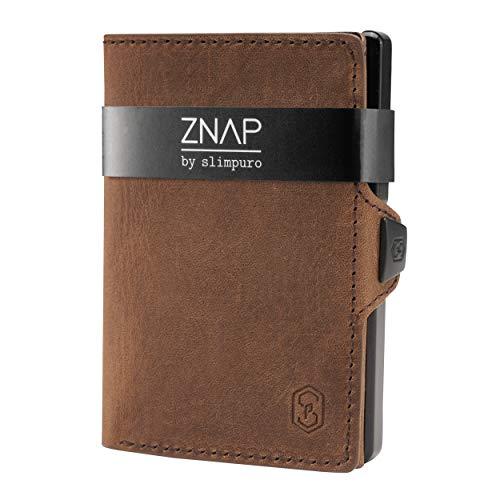 ZNAP Slim Wallet mit Münzfach - Kreditkartenetui mit Geldklammer - RFID Schutz - Braun Vintage Leder - Kartenetui Aluminium, Kreditkarten Etuis, Geldbeutel - 4 bis 8 Karten - Geld Clip von SLIMPURO