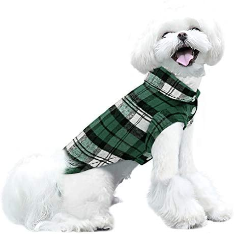 SUNFURA Plaid Dog Shirt Soft Breathable British Style Sweater Collar T Shirt for Small Medium product image