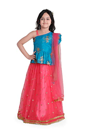 ADIVA Kids Indian Ethnic Wear Lehenga Choli for Girls (G_1024_Pink_32)