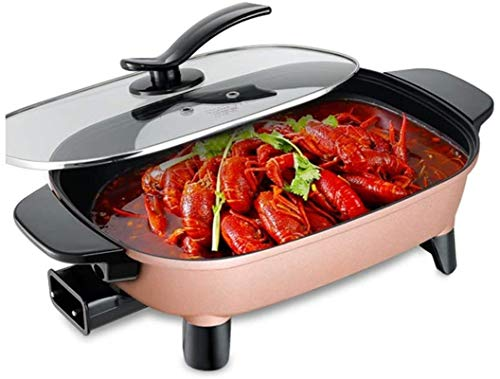 Parrilla eléctrica portátil, Electric Hot Pot Home Korean Fry Fry Fry Stir-Fry Stef HOAL One 2-4 Personas 4L 4L Capacidad Grande Anterior Fácil de Limpiar Ajuste de Tres velocidades, La