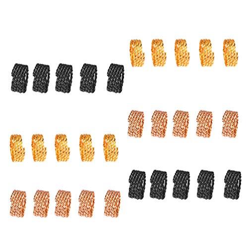 Frcolor Cheveux Dreadlocks, Cheveux de cuivre Tresses Bagues Dreadlocks Cheveux en métal Poils Décoration, 30Pcs