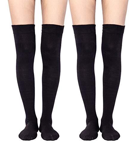 Women's Over The Knee High Socks Knee Socks(2 Pairs Black Over Knee Socks)