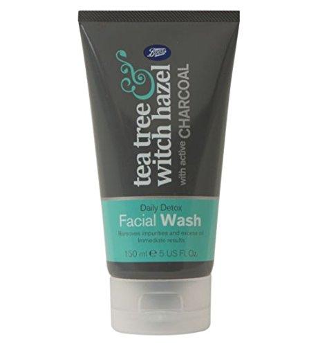 Boots Teebaumöl und Hamamelis Gesichtskohle Gesicht waschen 150ml/Boots Tea Tree and Witch Hazel charcoal Facial Face Wash 150ml