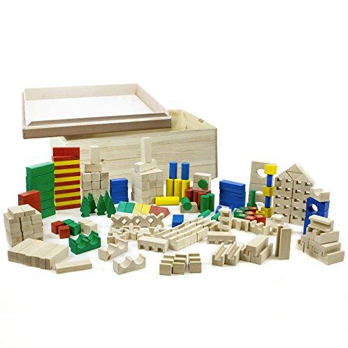 HolzFee 210 Bunte Holzbausteine BSS 210 B Holzklötze Buche mit Auswahl (mit Kiste)