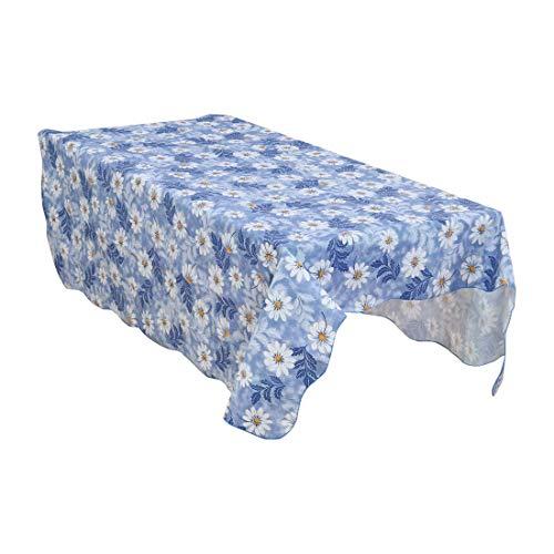 Mantel de plástico de vinilo DyniLao para mesas cuadradas 53'x 53' Patrón de margaritas, decoración de bodas/fiestas, resistente al aceite de agua