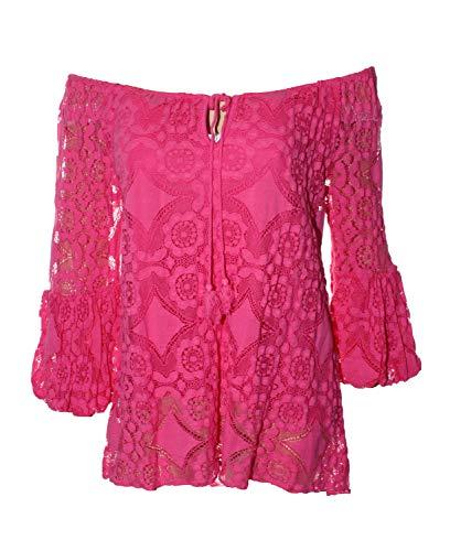 Verspielte Baumwoll Spitzenbluse Ibiza-Style Tunika im Lagenlook (PINK)