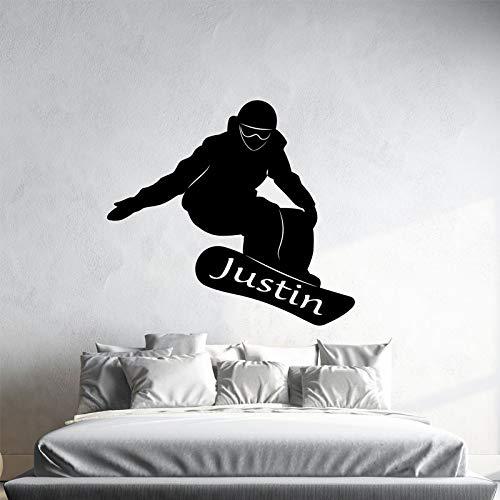 Nombre personalizado deportes Snowboard etiqueta de la pared arte decoración del hogar niño adolescente habitación Snowboarder pared calcomanía A6 46x42 cm