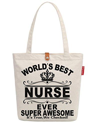 So'each Women's World's Best Nurse Ever Graphic Top Handle Canvas Tote Shoulder Bag
