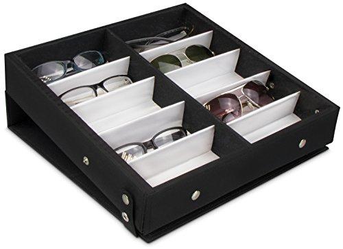 Grinscard Brillenbox zur Aufbewahrung von 10 Brillen - Schwarz ca. 32 x 32 x 6 cm - Sonnenbrillen Präsentation Showcase