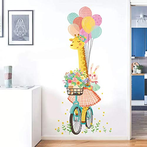 Taoyue Cartoon giraf muursticker kleur ballon deur sticker veranda decoratie kinderkamer decoratie slaapkamer wanddecoratie wooncultuur