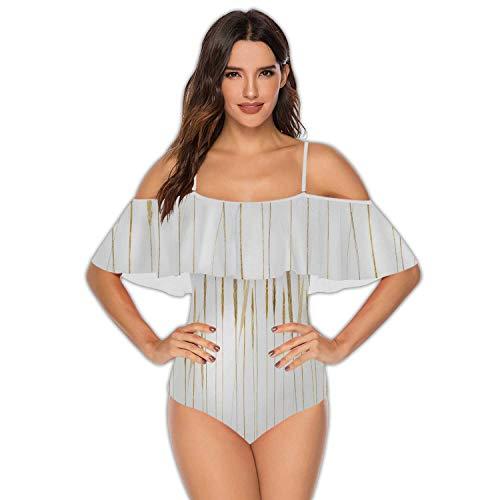 Border Made of Hand-Drawn Wild rye Wheat Isolated on White,Women Plus Size Swimsuits Ruffled Tummy Control Swimwear 2XL