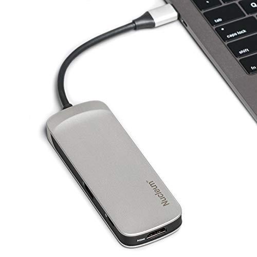 Kingston Nucleum C-HUBC1-SR-ENUSB C Hub Type-C Adapter (mit USB 3.0 Schnittstellen, Type-C (Power delivery) zum Laden von anderen Type-C Geräten, USB zur Datenübertragung)