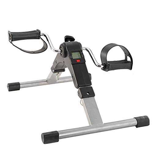 iMounTEK Foldable Exercise Foot Pedal Bike Fitness Exerciser Cycle LCD Display Folding Compact Portable Mini Pedals for Leg Arm Physical Therapy Rehabilitation for Home Office Gym