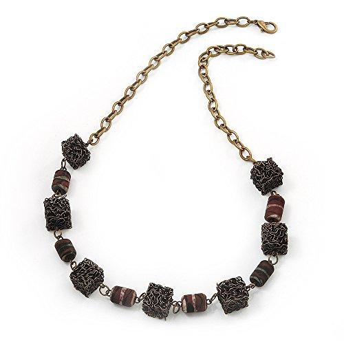 Cube &, perle In resina, design moderno, In metallo, colore: bronzo, lunghezza 56 cm