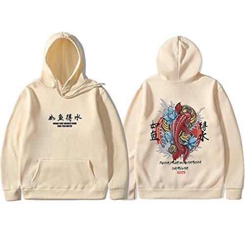 hhalibaba Sweats à Capuche Style Japonais Koi Casual Sweatshirts Streetwear Hommes/Femmes Pulls