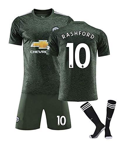 2021 Manchester United # 10 Rashford fútbol Jersey, Nueva Camiseta Cortos Calcetines Kits con Nombre y número, Competencia Camisetas de fútbol Personalizada Traje (Color : Away, Size : Medium)