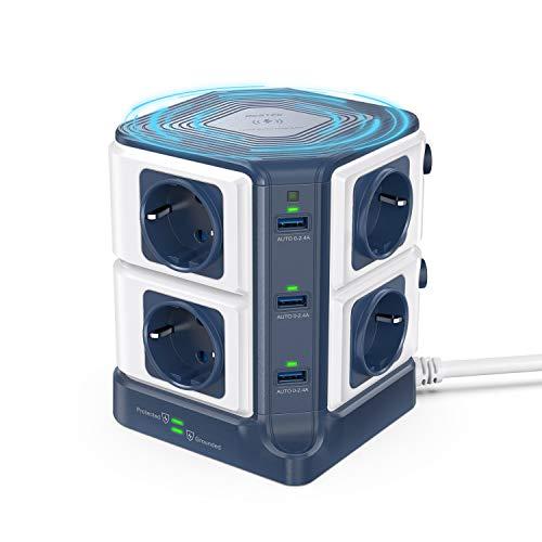 BESTEK Regleta Enchufe con Qi Cargador Wireless 10W, Regleta Vertical 8 Tomas y 6 Puertos USB, Regleta Alargador con Estación de Carga Wireless(1500J Surge Protección, 3600W/16A, Cable de 1,8m)-Azul