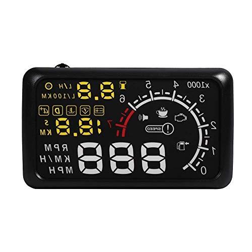 Visualizador coche Head Up Display HUD cabeza alta gráfico OBD2 de velocidad, nivel de combustible, cuenta Torre 14.8 * 8.5 cm (1 Rule incluido)
