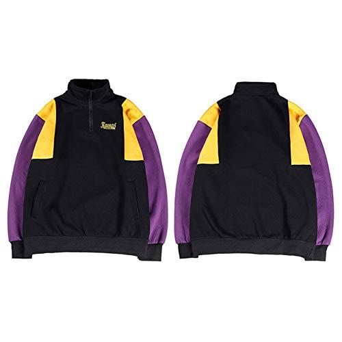 LYJLYJ Sweatshirt Farbblock Sweatshirt Pullover Streetwear Männer Hip Hop Vintage Hoodie Half-Zip Baumwolle Fleece Hispter