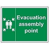 vsafety 17012bf-s evacuación fuego montaje punto señal adhesiva, vinilo, paisaje, 400m...