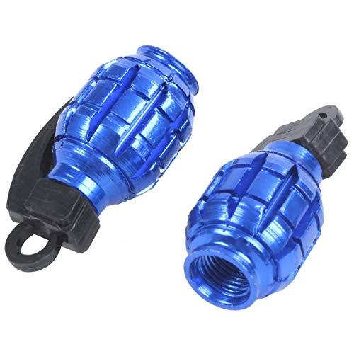 PRINDIY 2 Piezas de Tapas para el Polvo Cubre la Bicicleta de MTB BMX de Coches Granada Válvula de aleación (Azul)
