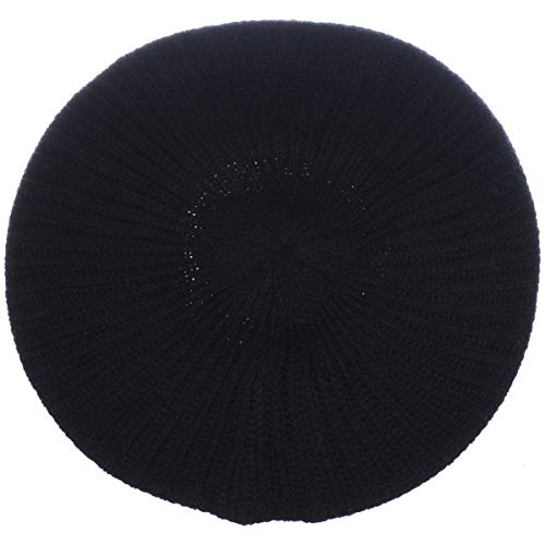 an- Womens Fall Winter Rib Knit Beret Hat (Black)