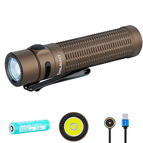 SKYBEN Olight Warrior Mini 1500 Lumen LED Tail Switch Magnetic 18650 Rechargeable Tactical Flashlight, Battery Case Included (Desert Tan)