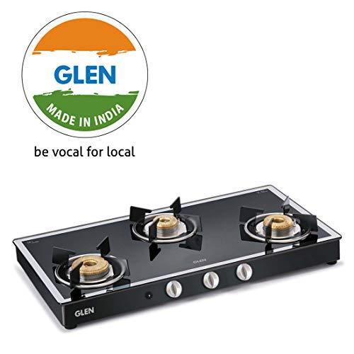 Glen 3 Burner Gas Stove 1038 GT Forged Burners Black Mirror Finish Auto Ignition