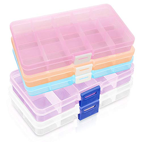 Gresunny 5pcs Caja Compartimentos plastico Caja de Almacenamiento Caja de almacenaje con separadores Ajustables Caja organizadora de Joyas contenedor de Almacenamiento para Pendientes Anillos Collar