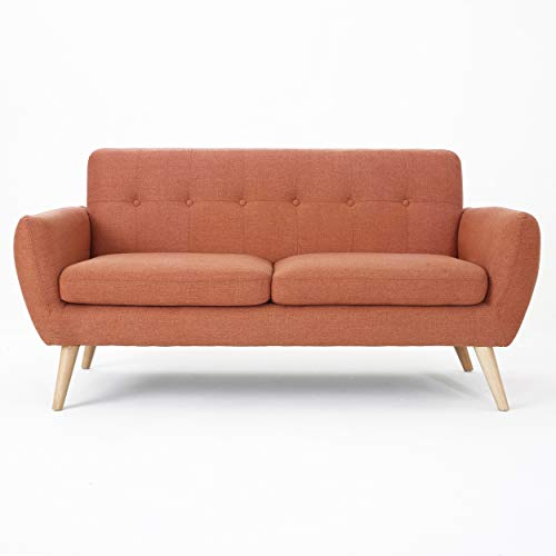 Christopher Knight Home Josephine Mid-Century Modern Petite Fabric Sofa, Burnt Orange / Natural
