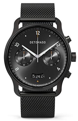 DETOMASO SORPASSO Chronograph Limited Edition Black Herren-Armbanduhr Analog Quarz Mesh Milanese Uhren-Armband Schwarz
