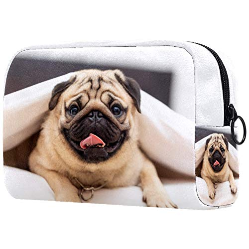Cosmetic Case Travel Train Makeup Case Organizer Portable Storage Bag for Cosmetics Makeup Brushes Toiletry Jewelry Storage Doggy 7.3x3x5.1in